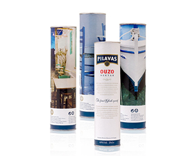 Paper Labels for Cylindrical boxes Ouzo Pilavas